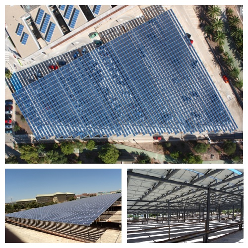 Photovoltaic canopies and electric vehicle chargers